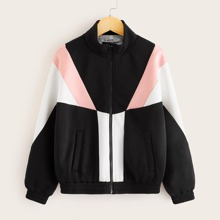 Girls Zip Up Colorblock Jacket