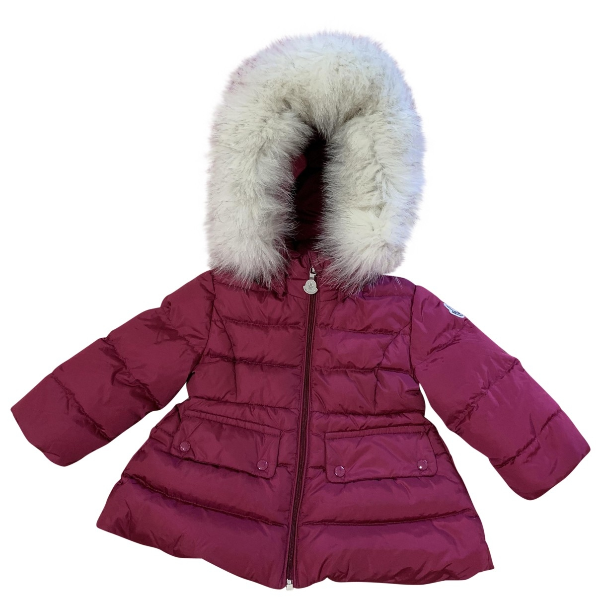 Moncler Fur Hood Jacke, Maentel in  Rosa Fuchs