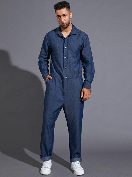 Yoins Men Autumn Button Front Long Sleeve Denim Jumpsuit