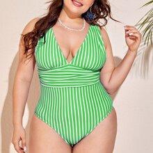 Plus Striped One Piece Swimsuit