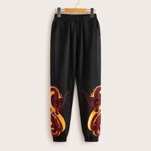 Jungen Hosen mit elastischer Taille und Drachen Muster