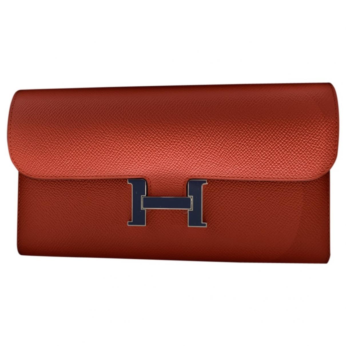 Hermes Constance Portemonnaie in  Rot Leder