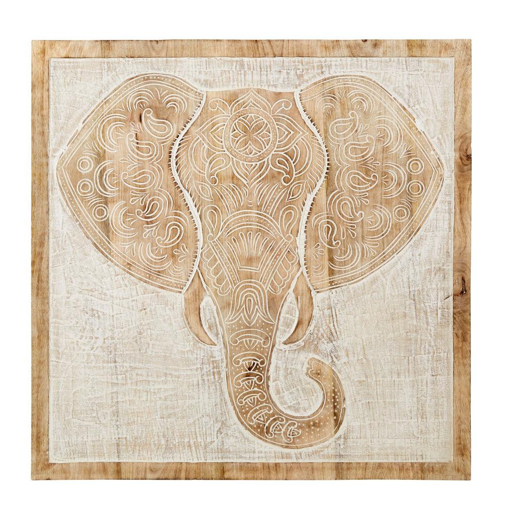 Wanddeko Elefant aus geschnitztem Mangoholz, geweisst 80x80