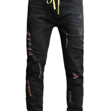 Guys Distressed Jeans With Belt