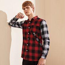 Hemd mit Karo Muster, Farbblock und Knopfen