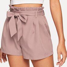 Solid Belted Paperbag Shorts