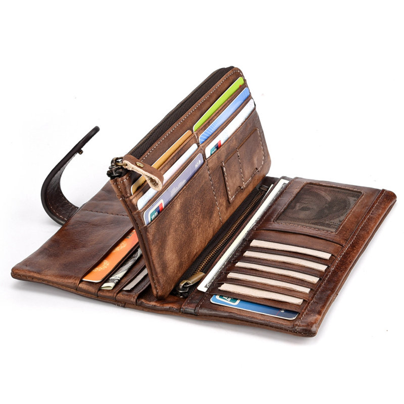 RFID Genuine Leather Casual 18 Card Slot Wallet Retro High Capacity Clutch Bags For Men