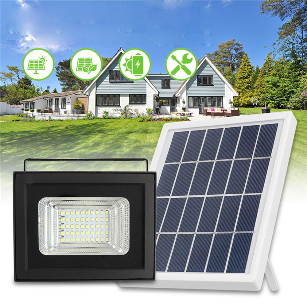 50 LED Solar Panel Power Flood Light Dust To Dawn Sensor Garden Outdoor Lamp Waterproof