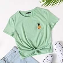 Minzgruen Stickerei Obst & Gemuese Laessig T-Shirts