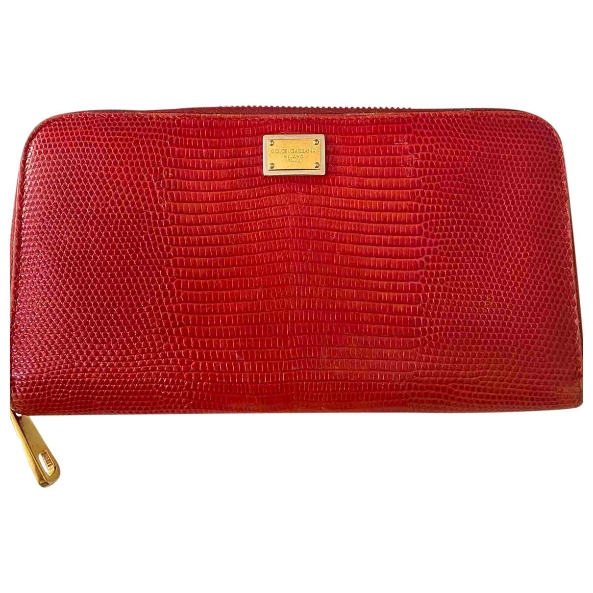 Dolce & Gabbana - Portefeuille   pour femme en lezard - rouge