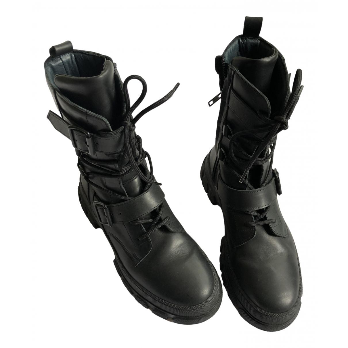 Munthe \N Stiefel in  Schwarz Leder