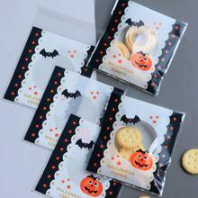 100 Stuecke Aufbewahrungstasche mit Halloween Muster