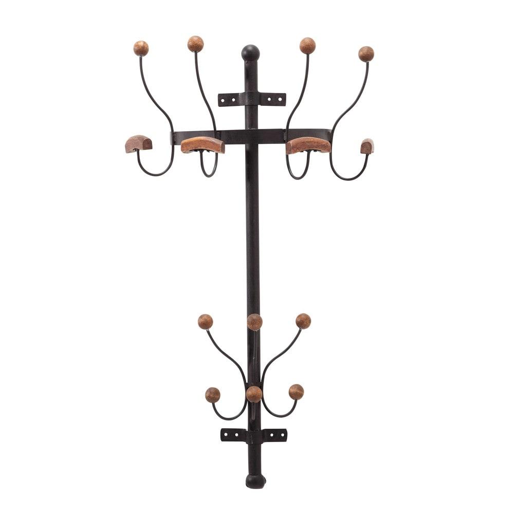Wandgarderobe aus Metall mit Rosteffekt und Tannenholz