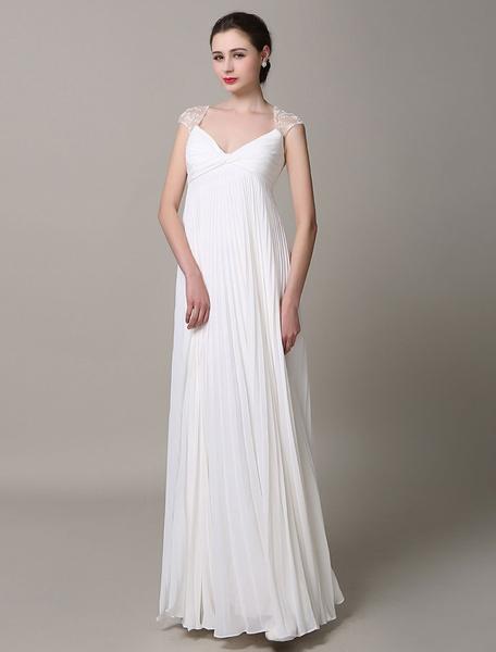 Milanoo Marfil vestido de fiesta con escote en corazon y pliegues