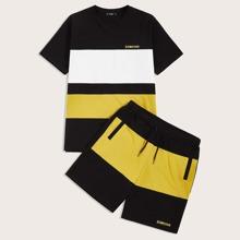 Maenner Top mit Buchstaben Grafik und Shorts Set