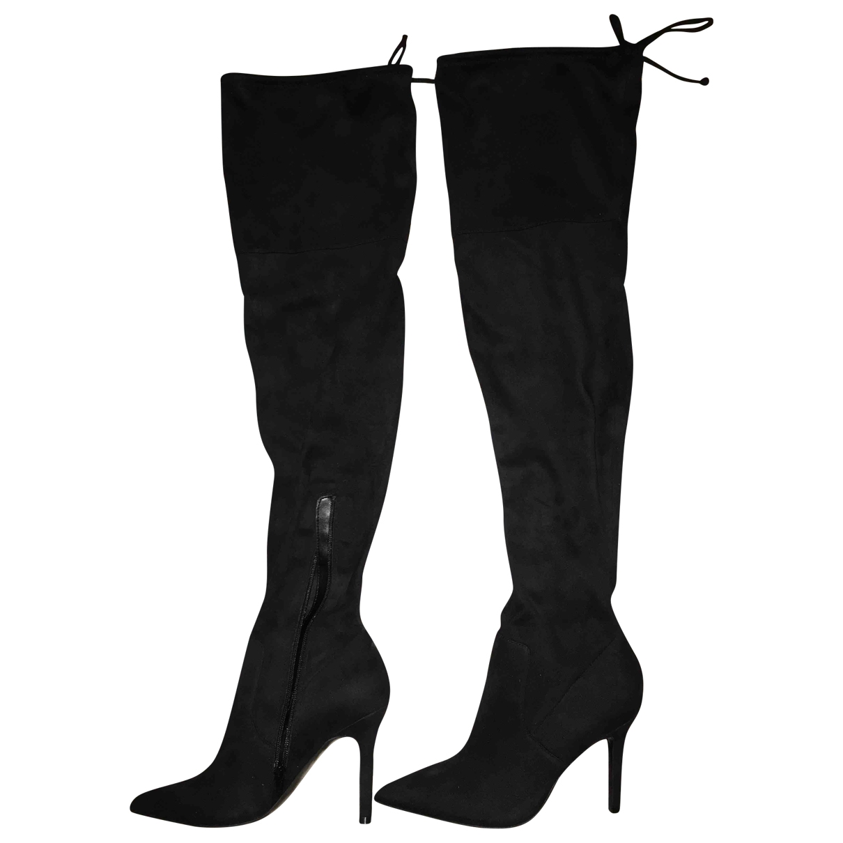 Non Signé / Unsigned \N Black Suede Boots for Women 5 UK