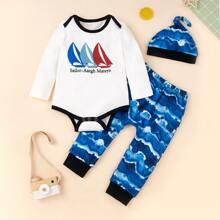 Baby Boy Letter Graphic Bodysuit & Tie Dye Pants With Hat
