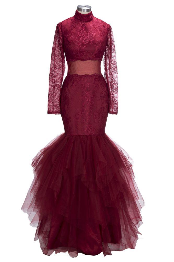 TANIA | Sirene col haut manches longues etage longueur dentelle tulle Robes de bal