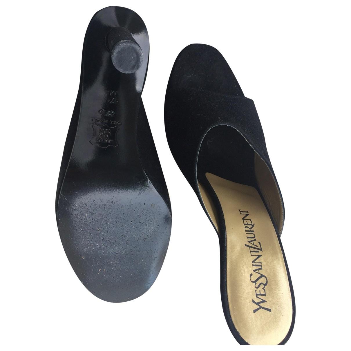 Yves Saint Laurent - Sandales   pour femme en velours - noir