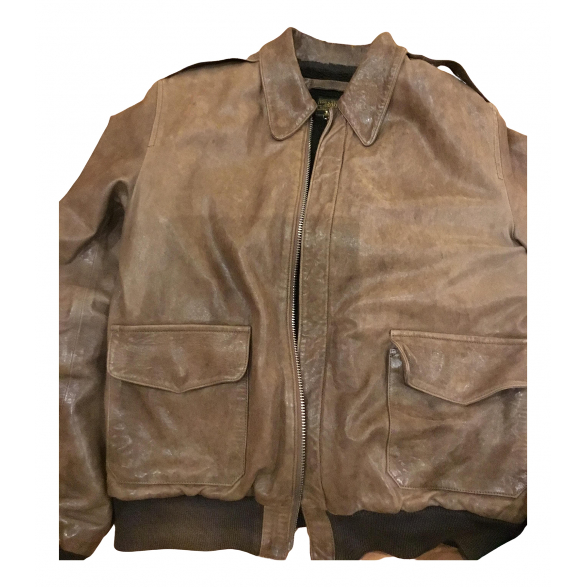 Non Signé / Unsigned N Brown Leather jacket  for Men 50 IT