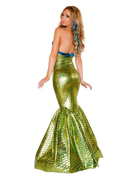 Milanoo Mermaid Costumes Women\'s Grass Green Sexy Polyester Dress Mermaid Fish Print Holidays Costumes
