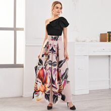 One Shoulder Bow Front Top & Fold Pleated Floral Skirt Set