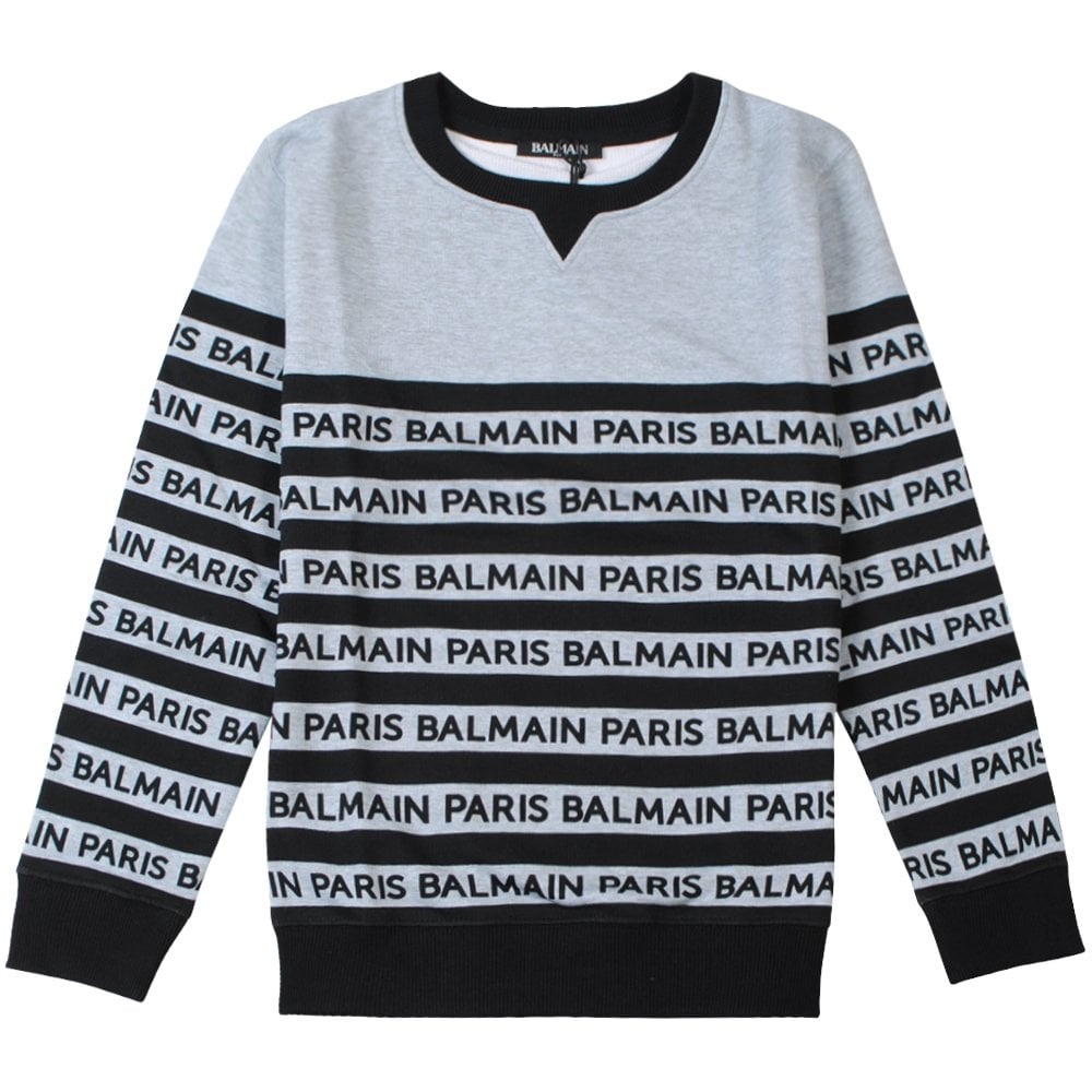 Balmain kids Stripe Logo Sweatshirt Colour: LIGHT BLUE, Size: 8 YEARS