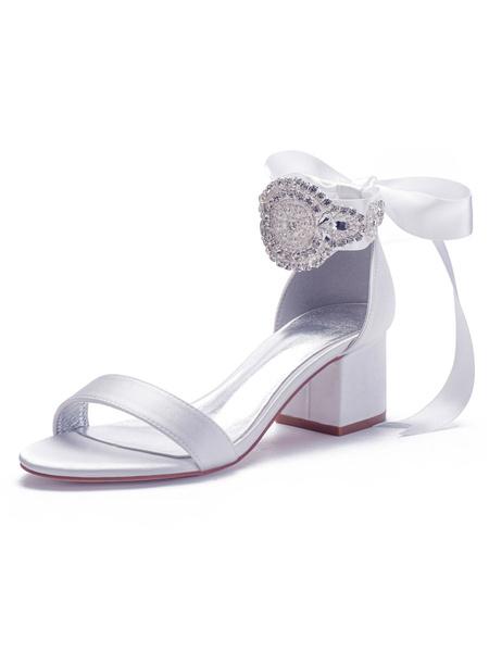Milanoo Satin Wedding Shoes Ivory Open Toe Bows Lace Up Bridal Shoes Block Heel Sandals