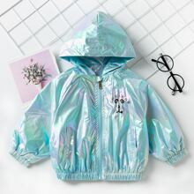 Toddler Girls Holographic Cartoon Graphic Hooded Jacket