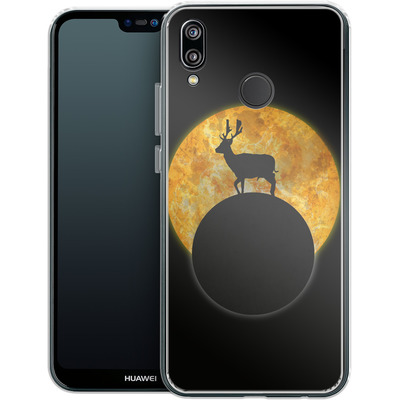 Huawei P20 Lite Silikon Handyhuelle - Deer on the Moon von Barruf