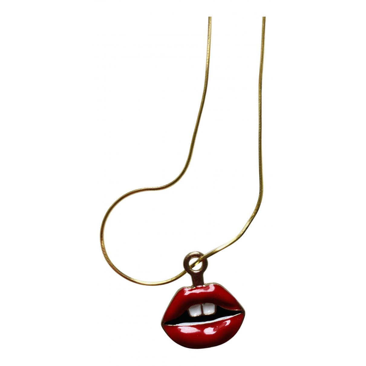 - Collier Art Deco pour femme en plaque or - dore