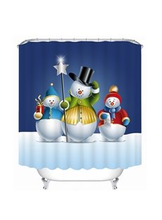 Three Lovely Snowmen Printing Bathroom 3D Shower Curtain