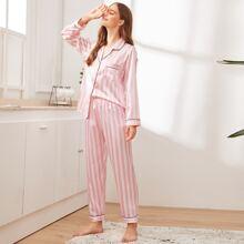Satin Schlafanzug Set mit Streifen und Knopfen