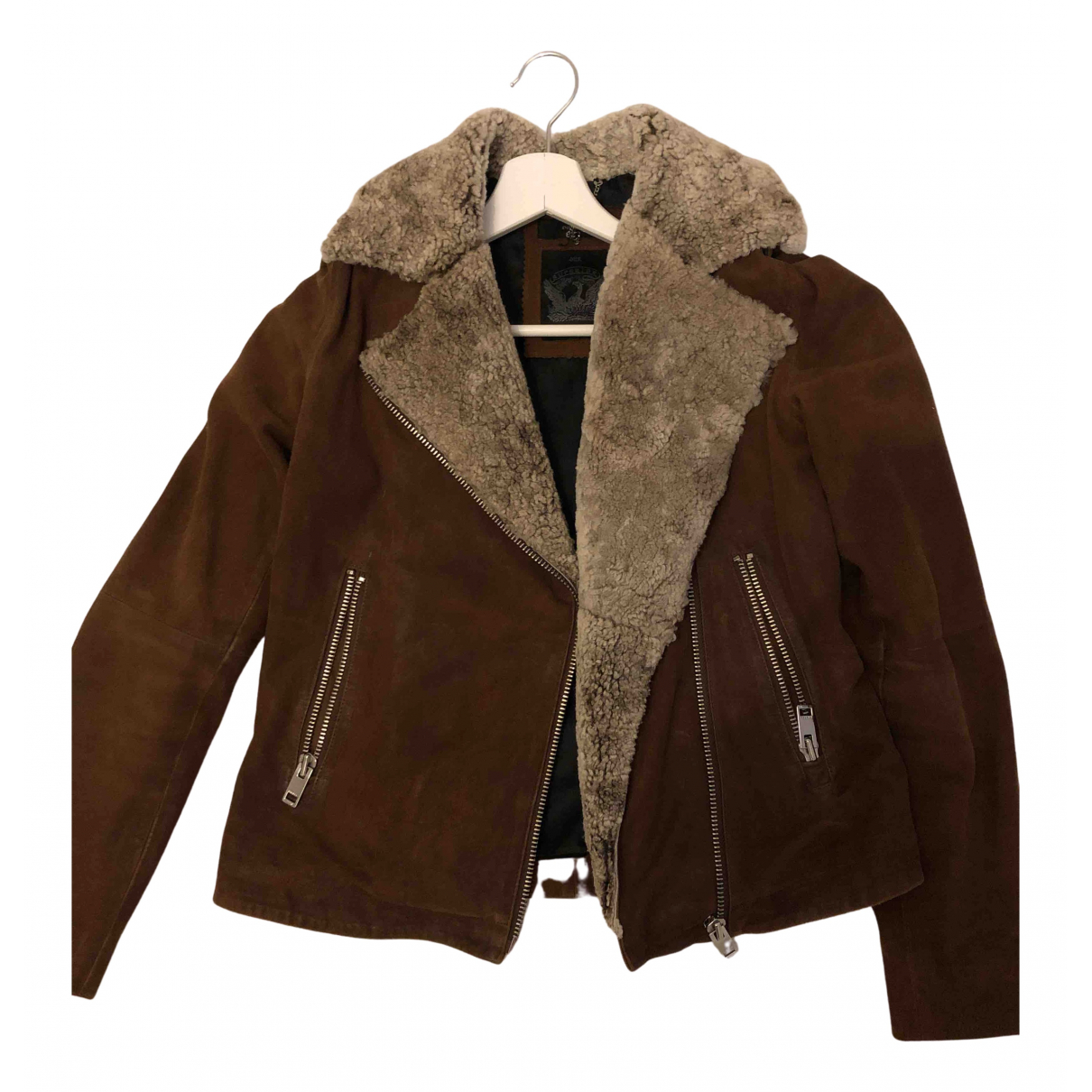 Diesel N Brown Leather jacket for Women M International