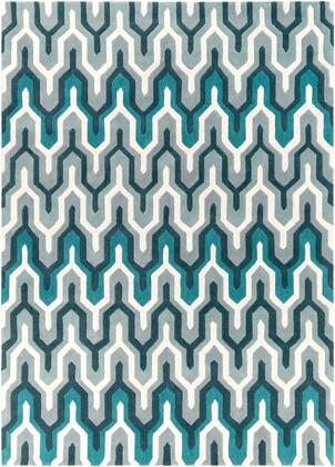 Cosmopolitan COS-9175 8' x 11' Rectangle Modern Rug in Teal  Medium Gray  Sea Foam