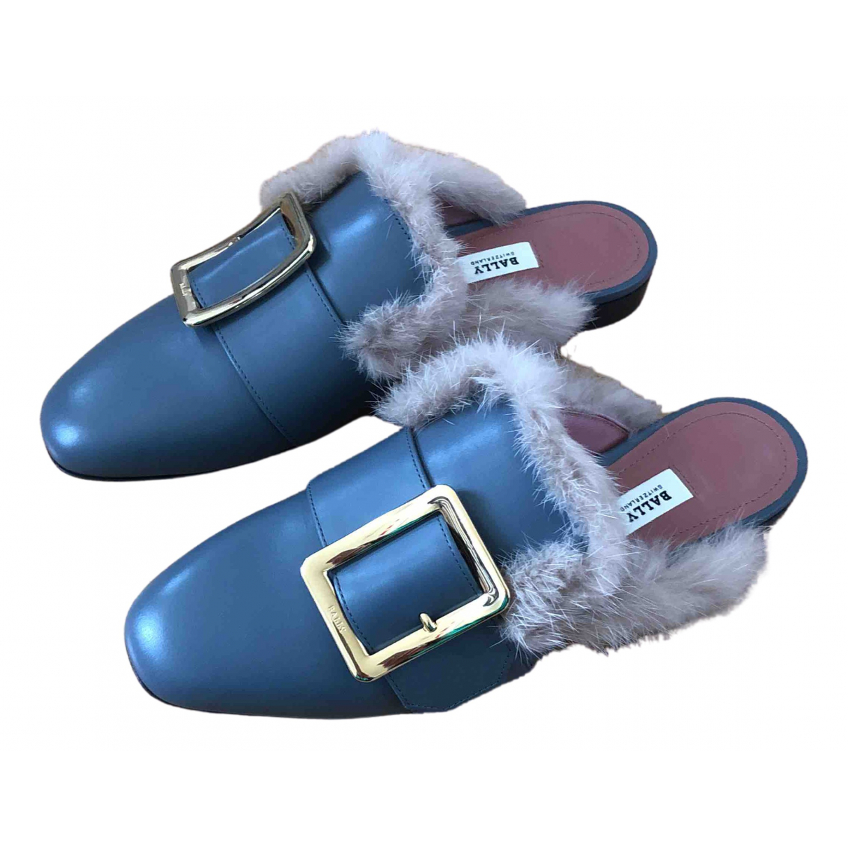 Bally N Grey Leather Mules & Clogs for Women 37 EU