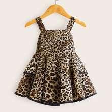 Kleinkind Maedchen Mehrschichtiges Cami Kleid mit Leopard Muster