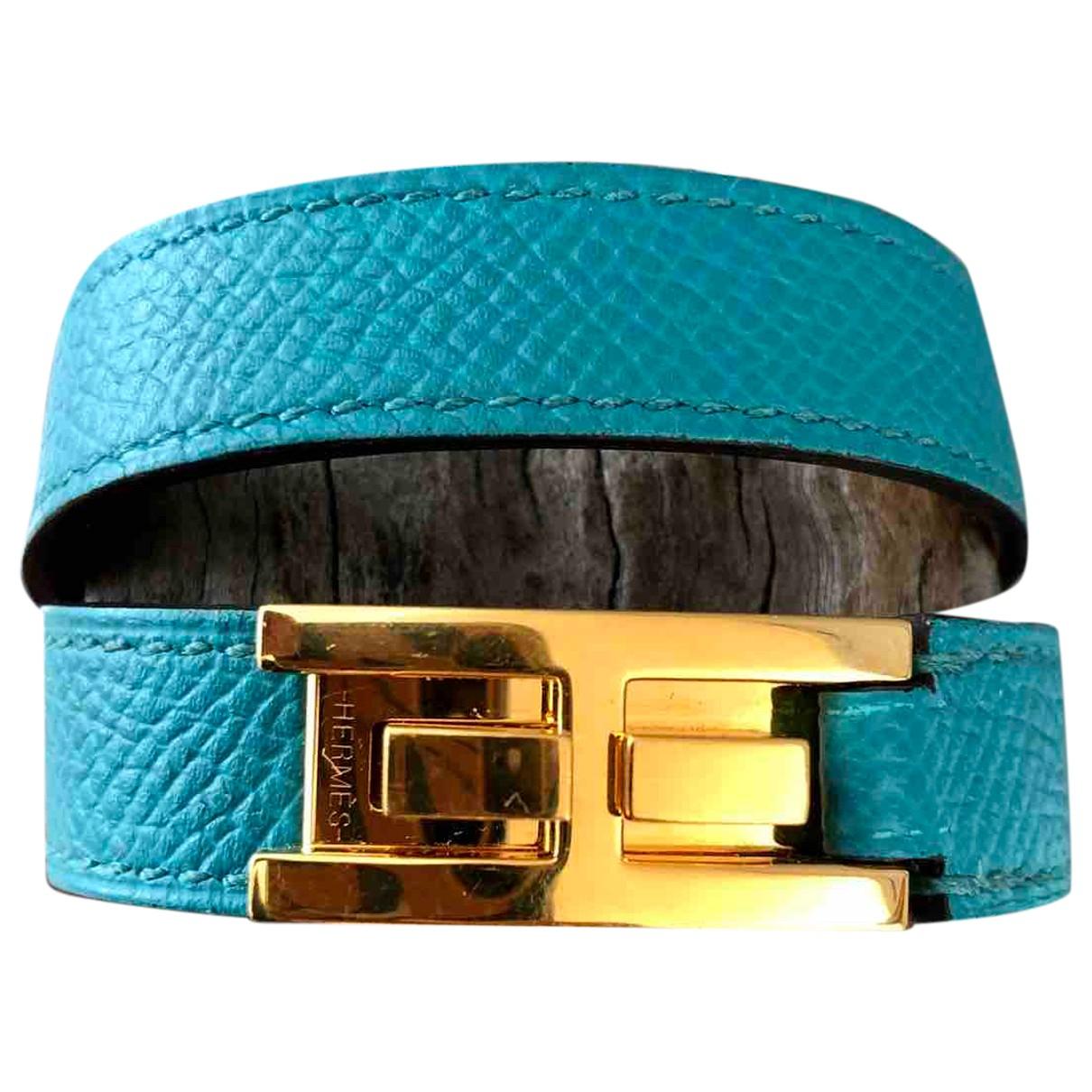 Hermes Drag Double Tour Armband in  Tuerkis Leder
