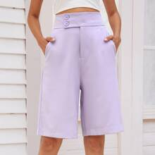 Solid Wide Leg Button Front Shorts
