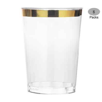 Gobelet en plastique Premium Party avec bordure dorée 10oz 8Pcs - LivingBasics ™