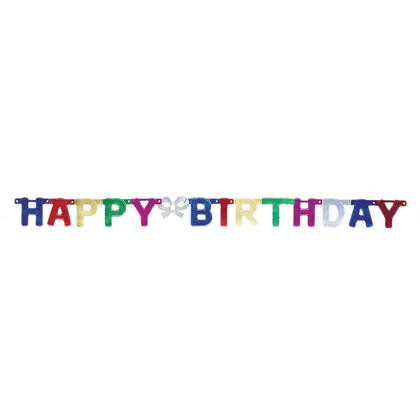 Deluxe Happy Birthday Jointed Banner for Home Party Decoration, 4ft