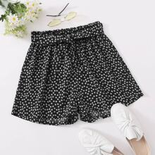 Ditsy Floral Self Tie Shorts