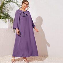 Plus Layered Ruffle Trim Solid Maxi Dress