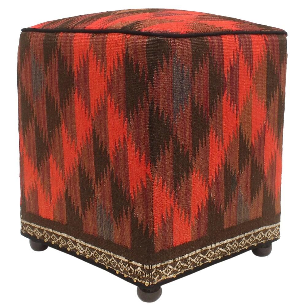 Vintage Min Handmade Kilim Upholstered Ottoman (16