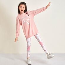 Girls Letter and Unicorn Print Hoodie and Leggings Set