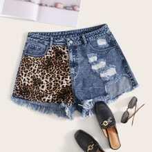 Plus Leopard Patch Raw Hem Ripped Denim Shorts