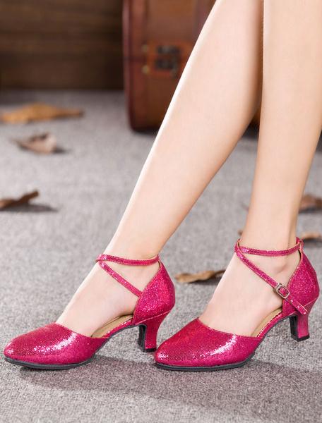 Milanoo Gold Dance Sandals Straps Glitter Chic Heels for Women