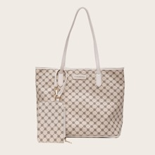 2pcs Geometric Graphic Tote Bag Set
