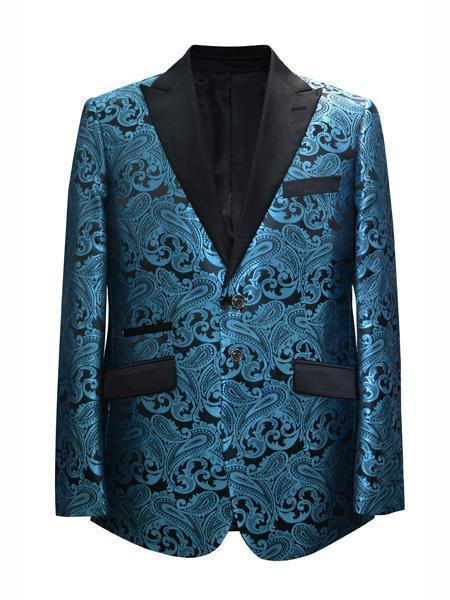 Cheap Mens Printed Flower Jacket Prom modern Tux Blue ~ Turquoise