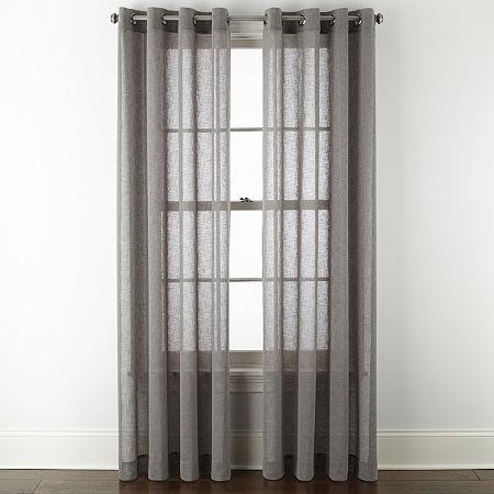 Linden Street Brooke Sheer Grommet-Top Single Curtain Panel, One Size , Gray